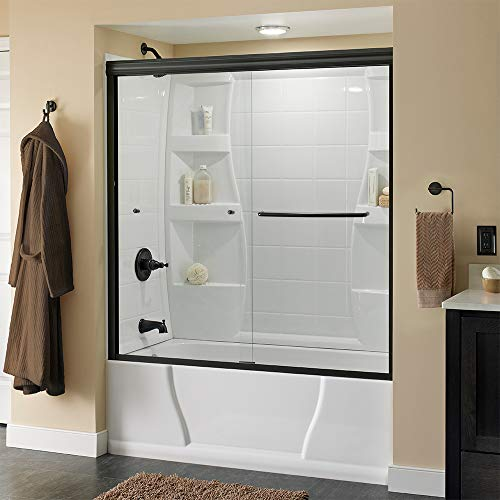 Delta Shower Doors SD3927418 Classic Semi-Frameless Traditional Sliding Bathtub 60' x58-1/8, Bronze Track