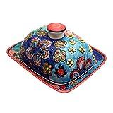 GallundZick Butterdose mit Deckel Keramik Bunt Handbemalt (Daisy Orange/Rot)