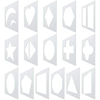 16 Pieces Chalk Stencil Set Geometric Shapes Reusable Chalk Painting Stencils Plastic Drawing Stencil Templates for Toddlers Kids Home Classroom Crafts