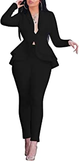 Two Piece Outfits for Women Long Sleeve Solid Blazer Ruffle with Pants Elegant Suits Set Jumpsuit