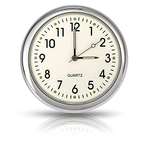 EEEKit Aufklebbare Auto Armaturenbrett Uhr Runde analoge Quarzuhr, Mini Leuchtende Quarzuhren für Auto, SUV und MPV (Weiß)
