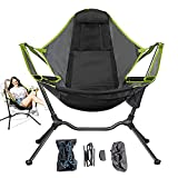 Portable Folding Outdoor Rocking Chair, Relaxing Swing Roker Camp Chairs, Hammock Recliner Luxury Camping Chairs for Outside Patio Lawn,Green