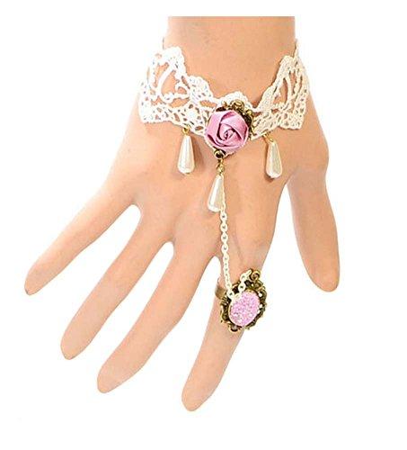 Bracelets de dentelle strass rétro avec bande de poignet anneau pour la mariée ou la fête