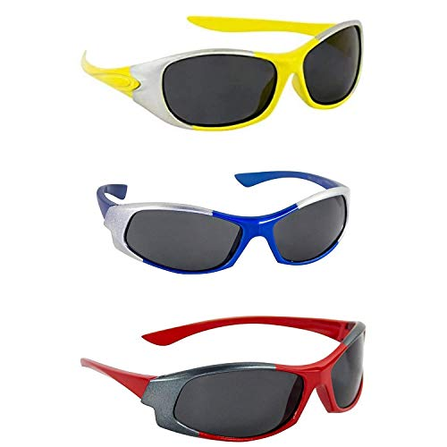 Dervin Kid's Goggles Wrap Around Boy's and Girl's Sports Sunglasses - Combo of 3 (3-6 Years, Yellow, Blue, Red)