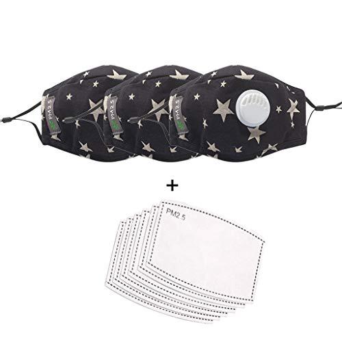 eiuEQIU Wiederverwendbare Kinder Headwear Kinder-Schutz, waschbar, atmungsaktiv, für Schule, Outdoor, 3 Stück +6 Filter