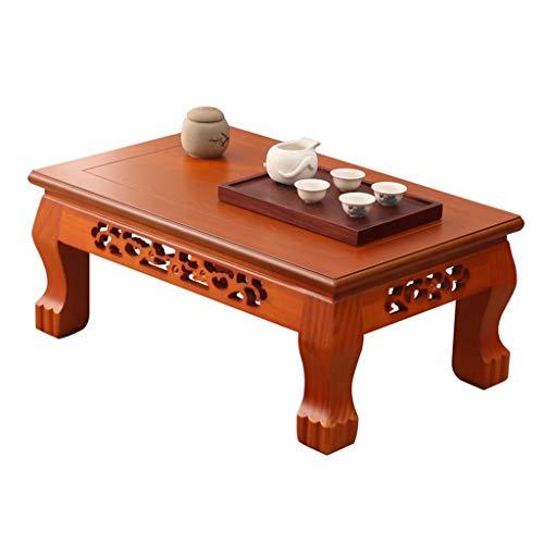 Beistelltische Chinesischer Tatami-Couchtisch Massivholz-Teetisch Zen Chinese Classics-Tisch Niedriger Tisch Balkon Erkerfenster-Tisch (Color : Oak Color, Size : 50 * 40 * 28cm)