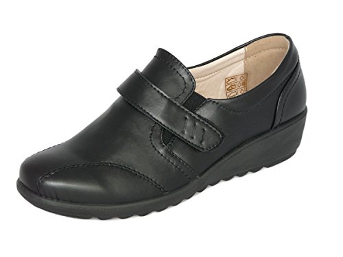 Cushion Walk Women's Ladies Lightweight Black Leather-lined Touch Fastening Slip-on Flat Shoes, Flats, Casual Work Office Comfort Shoes (7 UK 41 EU, Black)