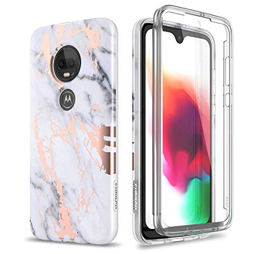 SURITCH Case for Moto G7 / Moto G7 Plus,[Built-in Screen Protector] Rose Gold Marble Full-Body Protection Shockproof Rugged Bumper Protective Cover for Motorola Moto G7 / Moto G7 Plus (Gold Marble)