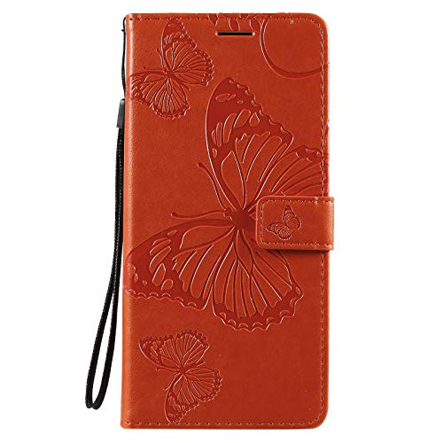 Leather Wallet Case for Xiaomi PocoX3 NFC, Flip Case Leather with Kickstand,Folio Magnetic Closure Protective Cover with Card Slots for Xiaomi PocoX3 NFC - DEKT043127 Orange