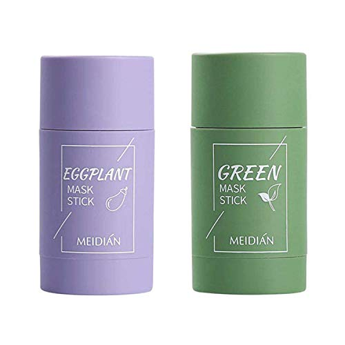 2Pcs Cleansing Facial Mask Stick for All Skin Types, Eggplant/Green Tea Purifying Clay Stick Mask, Effectively Reduce Blackheads, Clean Pores, Control Oil, and Improve Facial Dullness Green+Eggplant