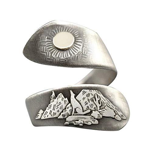 Anillo abierto de paisaje natural para amanecer, luna, cactus, dibujado a mano, anillo de dedo, ajustable, joyería de mano para mujeres y hombres