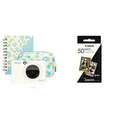 Canon Zoemini S Instant Camera & Photo Printer (Pearl White) Essential Kit & Zoemini ZINK Photo Paper (Pack of 50 Sheets)
