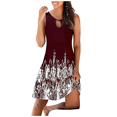 FQZWONG Women's Boho Summer Dress V-neck Print Hollow Out Sleeveless Loose Skirt Dress (C-Red,XX-Large)