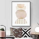 impresiones para paredes 50x70cm Sin marco Tono tierra Geometría abstracta Beige Gris Color neutro Póster Cuadros de pared Boho Arte de la pared Impresión Decoración de la sala de estar