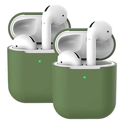 Molylove Compatibile con AirPods 2 Custodia in Silicone, 2X Case per Airpods Custodia Cover Custodia protettiva in silicone antiurto [Supporto ricarica wireless] (AirPods 2, Verde senape)