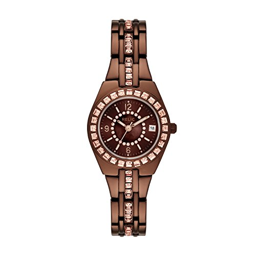 Relic by Fossil Women's Queen'S Court Analog-Quartz Watch with Alloy Strap, Brown, 15.8 (Model: ZR12195)
