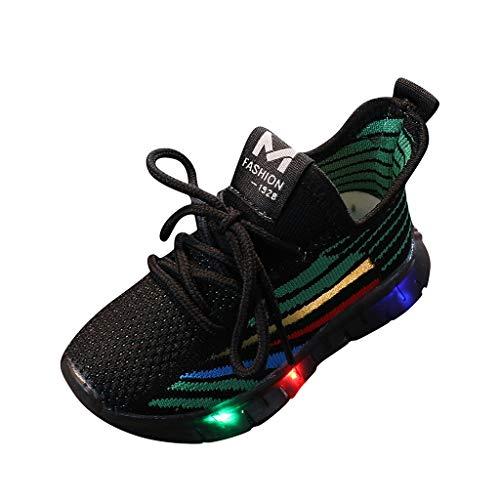 1-6 Años,SO-buts Bebés Niñas Niños Suela Suave Que Brilla Intensamente Bling Led Iluminados Zapatos Luminosos Zapatillas Deportivas (Negro,28)