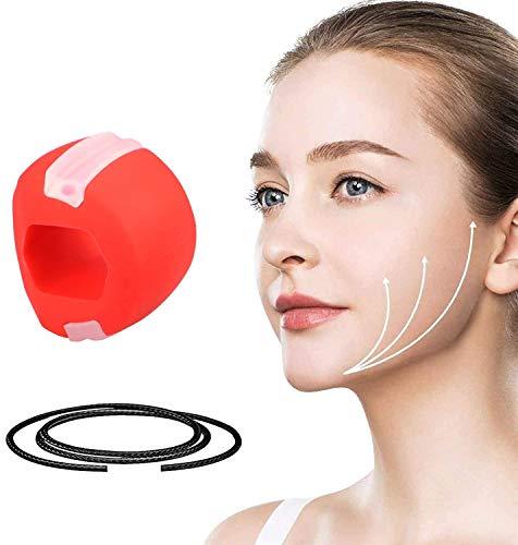 Mascella Esercizio Mascella, Viso e Collo Fitness Ball Esercizio per Uomini e Donne, Collo Muscolo Naturale Sottile e Tono (Rosso)