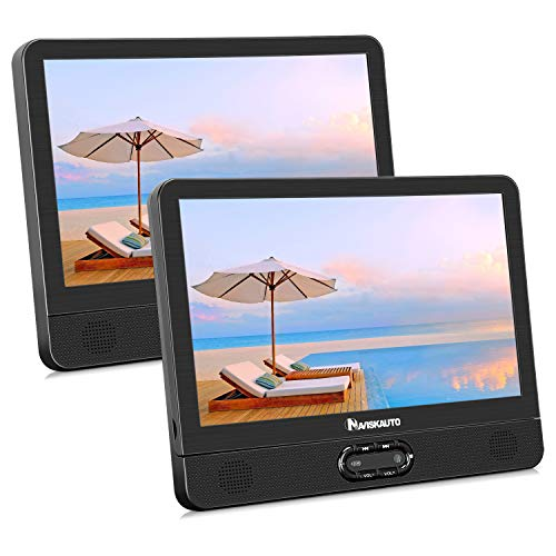 NAVISKAUTO 12' Dual Portable DVD Player for Kids, Built-in Rechargeable Battery USB SD Card Readers Support Last Memory Region Free(1 Player+1 Monitor)