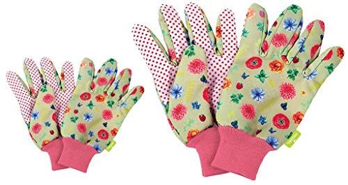 2er Set Gartenhandschuhe für Damen & Kinder | Boden- und Pflanzhandschuhe für Arbeiten im Garten, optimaler Grip und Schutz, in Blumenmuster (02 Paar)