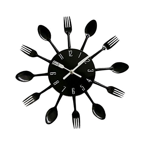 H HILABEE Cubiertos de Aluminio de 12 Pulgadas para Interior/Exterior Reloj de Pared 3D Cuchara de Cocina Tipo de Tenedor