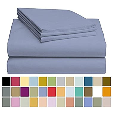 4 PC LuxClub Sheet Set Bamboo Sheets Deep Pockets Eco Friendly Wrinkle Free Sheets Hypoallergenic Anti-Bacteria Machine Washable Hotel Bedding Silky Soft - Oxford Queen