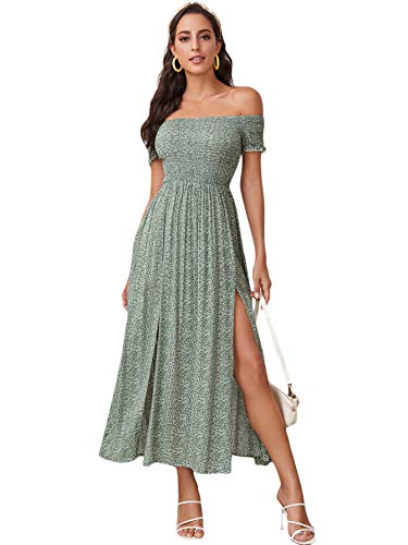 Floerns Women's Boho Floral Print Off Shoulder Split Long A Line Dress A Green S
