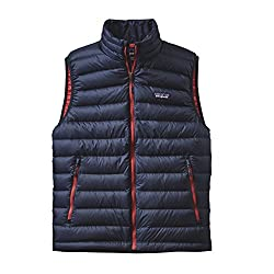 Patagonia mens Down Sweater Vest 84622-NBRR_S - Navy Blue w/Ramble Red