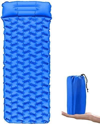 BACKTURE Esterillas Inflables Camping, Colchoneta Camping Ultraligero con Almohadas, Colchón Hinchable Impermeable y a Prueba de Humedad, para Camping, Vacaciones, Senderismo(Azul Brillante)