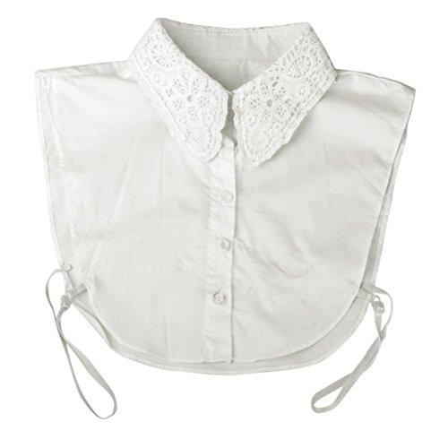 PIXNOR Frauen Floral Dekolleté abnehmbare Kragen halbe Shirt Bluse (weiß)