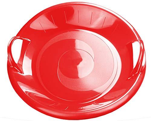 Ondis24 Großer Tellerrutscher mit 2 Griffen Porutscher XL Tellerschlitten Schlitten Kunststoff rot 60 cm leicht, stabil & günstig, riesiger Spaß garantiert (Rot)