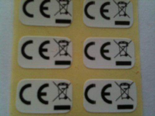Ce Wee Logo Zelfklevende Etiketten, Stickers 750 Zwart Print Op Wit 15 x 10mm Label