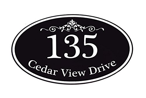 Customized Home Address Sign, Aluminum 12  x 7  Oval House Number Plaque, Personalized Color Choices Available (Black)