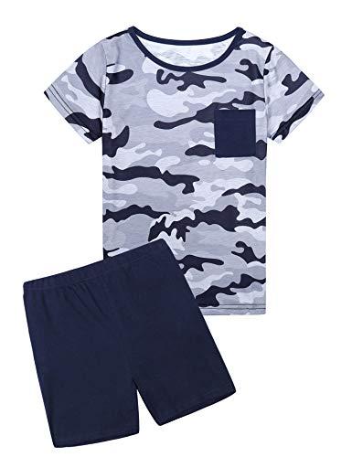 Hawiton Jungen Schlafanzug Kurz Baumwolle Zweiteiliger Tarnanzug Kinder Kurzarm Sommer Pyjama-Tarnoberteil + Blaue Hose-12-13 Jahre