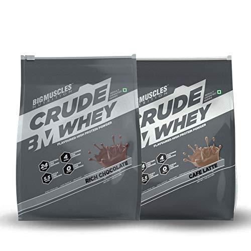 Bigmuscles Nutrition Combo: Crude Whey - 1 kg (Rich Chocolate), 24g Protein and Crude Whey - 1 kg (Cafe Latte), 24g Protein