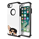 FINCIBO Case Compatible with Apple iPhone 7 2016 / iPhone 8 2017, Dual Layer Hard Back Hybrid Protector Case Cover TPU for iPhone 7/8 (NOT FIT 7 Plus, 8 Plus) - Tricolor Pembroke Welsh Corgi Dog