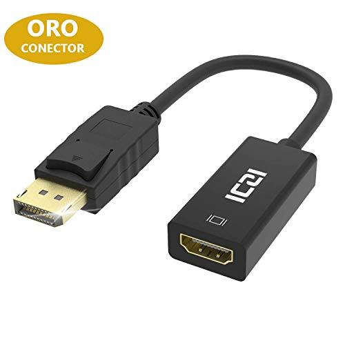 ICZI Adattatore DisplayPort a HDMI 1080p, Cavo DP Maschio su HDMI Femmina, Connetori Dorati Adattatore Convertitore con Cappuccio Antipolvere per HDTV Monitor Proiettori Portatili e Altri (1080p)