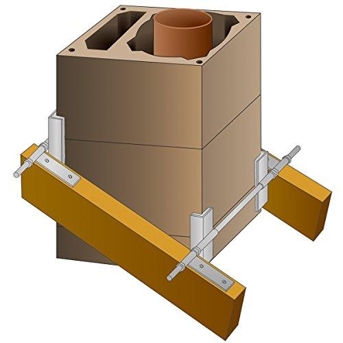 PremiumX Schornsteinhalter M20 Sparrenhalter für Schornstein Kamin-Dach-Befestigung-Set Kaminhalter Kaminsparrenhalter Schornstein-Dachdurchgang-Halterung universal einsetzbar
