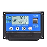 DEWIN Controlador de Carga Solar,Controlador Solar YCX-002 10-60A Controlador de Carga del regulador del Panel Solar PWM 12V/24V Seguimiento automático(YCX-002-20A)