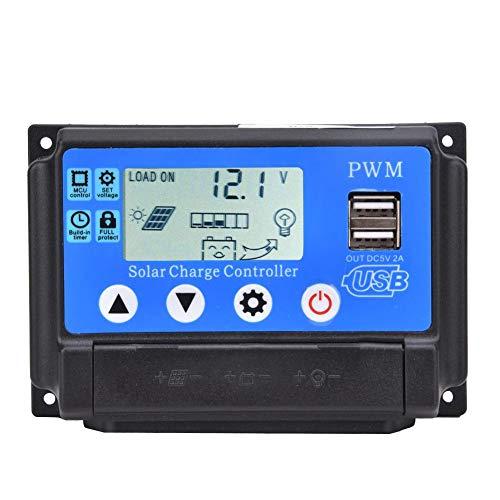 PWM Solarladeregler - YCX-002 10-60A Solarpanel-Regler Intelligenter Solarpanel Laderegler mit zwei USB-Anschlüssen und LCD-Display, 12V/24V Autofokus-Tracking(YCX-002-50A)