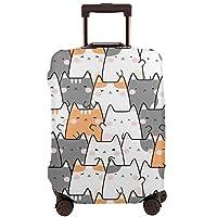 スーツケースカバー かわいい 猫? 柄 トロリー袋 トロリーケース 保護カバー トラベルスーツケースプロテクター トランクカバー キャリーカバー ラゲッジカバー 無地 伸縮素材 キズを防止 S/M/L/Xlサイズ 観光旅行 超軽い 男女兼用