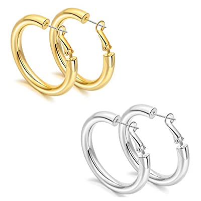 sovesi Chunky Gold Hoop Earring 14K Gold Plated Thick Hoop Earrings for Women Gold30mm/Silver30mm