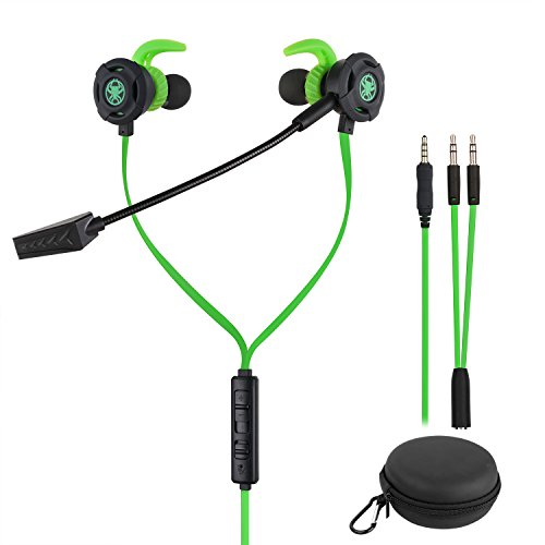 Samoleus In Ears Kopfhörer mit Verstellbarem Mic, 3.5MM Wired Earbuds Gaming Earphones Ohrhörer mit 3 Pairs Different Sizes Earbuds für PS4, Xbox, PC, Laptop, Mobile Phone (Grün - In Ear)