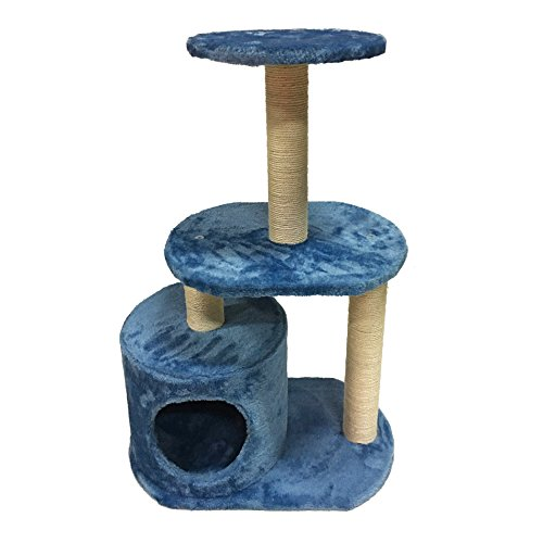 Rebecca Mobili LuckyPet Tiragraffi Albero Gioco Palestra per Gatto, Beige Azzurro Sisal MDF Peluche, per Divertimento Unghie Gatto - Misure: 75 x 30 x 30 cm (HxLxP) - Art. LU8042