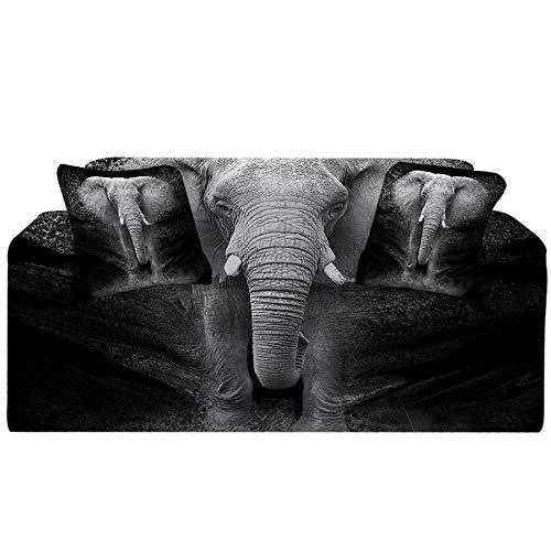 Fundas Decorativas para Sofás,Simplicidad Moderna Elastica Funda de Sofa 1/2/3/4 Plazas Antideslizante Funda Protectora para Sofá(Elefante Estampado Oscuro