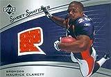 Maurice Clarett player worn jersey patch football card (Denver Broncos) 2005 Upper Deck Sweet Swatches #SWRMO
