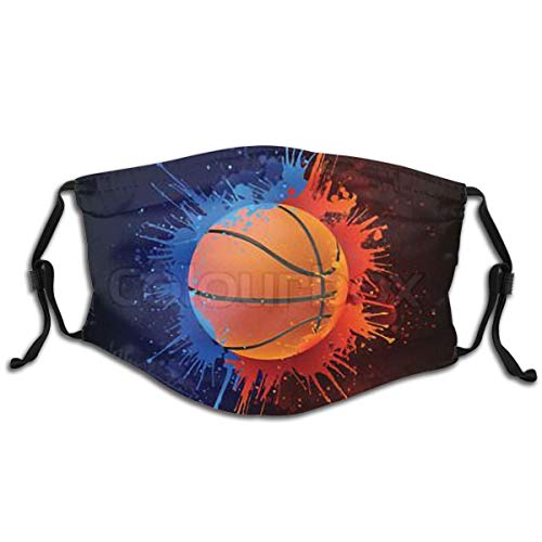 ValueVinylArt Kids Face Mask Basketball Ball Washable Reusable Cute Cool with 2 Filters for Girls Boys