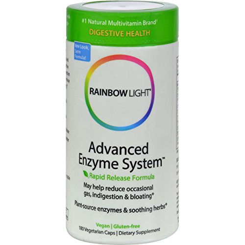 Rainbow Light Advanced Enzyme System - Plant Source Enzymes - Eases Digestive Discomfort - Gluten Free - 180 Vegetarian Capsules (Pack of 2)