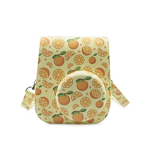 MUZIRI KINOKOO Schutzhülle für Fujifilm Instax Mini 11 Tasche, Orange Farbe, Tragetasche, PU-Leder mit Foto-Aufklebern (Orange)