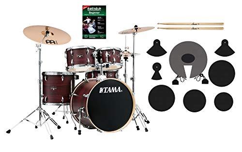 Tama IE50H6W-BWW Imperialstar Drumkit Beginner Set - Drumset inkl. Hocker und Beckensatz - Inkl. Meinl HCSB Beckensatz - Spar-Set mit Dämpfern, Schule und Sticks - Burgundy Walnut Wrap